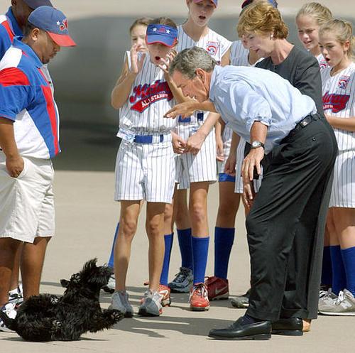 Bush kutyáját idomítja