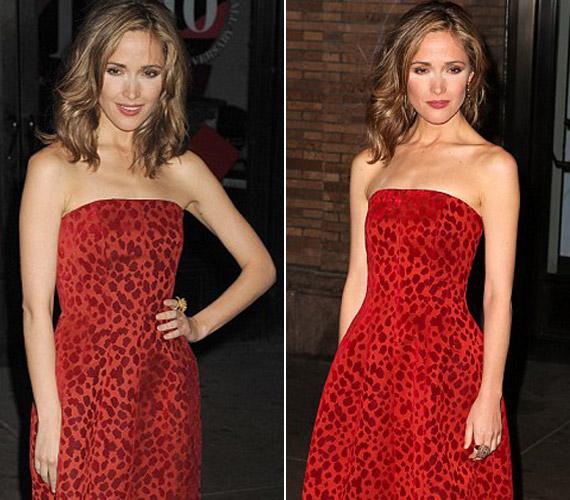 Hiába volt kivételesen csinos piros ruhájában, a sminkbaki elrontotta az összképet.