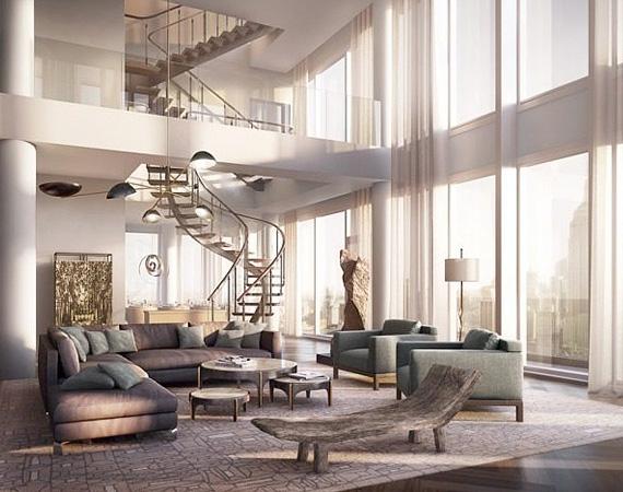 Egy belső csigalépcsőn is lehet közlekedni az emeletek között, a belső tér tágas és napfényes.