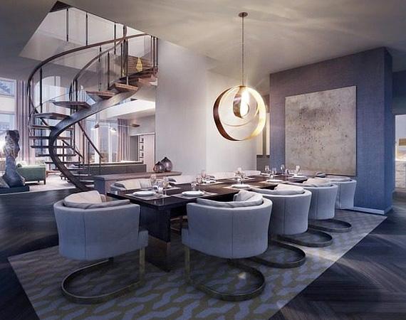 A formális étkező egy nyugodtabb, szeparáltabb helyen van a lakás belsejében.