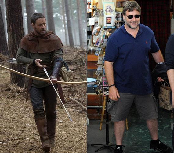 Rá sem lehet ismerni Russell Crowe-ra, hiszen tavaly - amikor a Robin Hood című filmet forgatta - legalább húsz kilóval volt könnyebb.