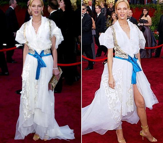 Uma Thurman is követett már el divatbakit a vörös szőnyegen, fodros ruhájában úgy nézett ki, mint egy habcsók.