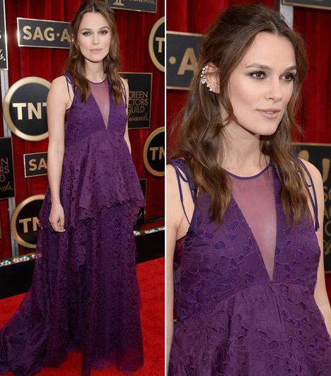 Keira Knightley                         A várandós színésznő egy lila csipkés Erdem ruha mellett tette le a voksát, amit Repossi ékszerekkel dobott fel.