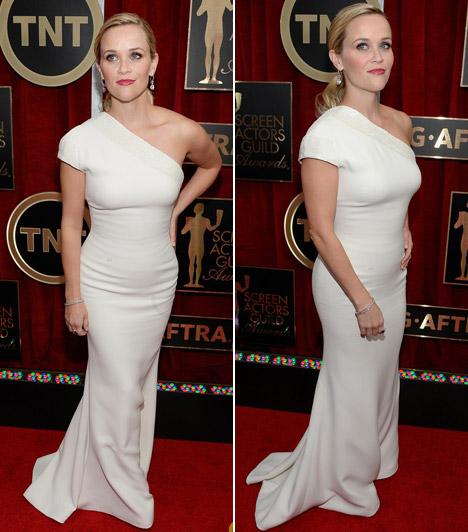 Reese Witherspoon                         A színésznő idén az egyszerűségre szavazozz, ezért egy hófehér Giorgio Armani ruhában jelent meg.