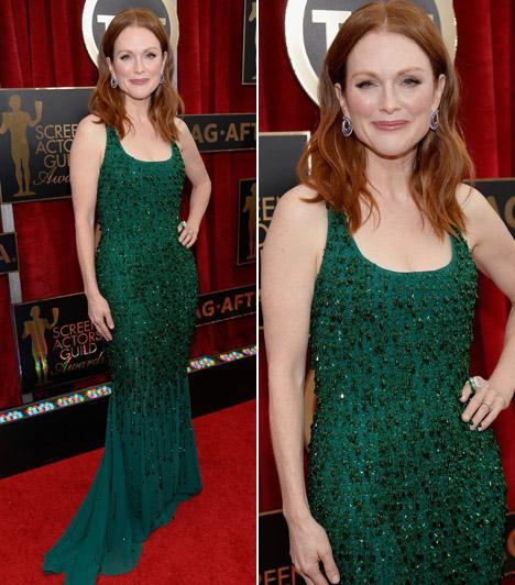 Julianne Moore                         A legjobb színésznőnek járó Oscarra esélyes színésznő a SAG-gálára egy zöld Givenchy ruhát választott, mely remekül ment vörös hajához.