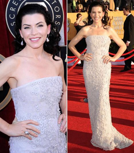 Julianna MarguliesA Vészhelyzet Carole-jaként népszerűvé vált színésznő modern hófehérkeként tündökölt gyöngyökkel díszített Calvin Klein ruhájában, melyhez Marcy Miller ékszereket viselt.