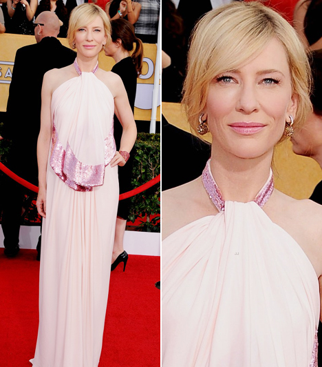 Cate Blanchett  A Blue Jasmine-ban nyújtott alakításáért átvehette a legjobb színésznőnek járó díjat. Az estére egy halvány rózsaszín Givenchy-kreációt választott. Kapcsolódó cikk: Csak egy kis csipke takarta! Jószerével meztelenül jelent meg a színésznő