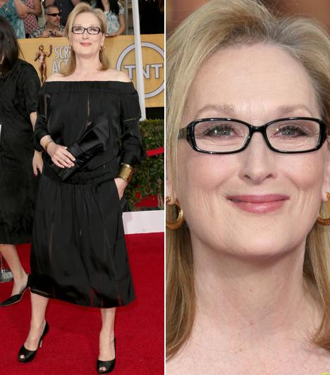 Meryl Streep                         A színésznőt idén a 18. Oscarjára jelölték az Augusztus Oklahomában film miatt. A 64 éves Streep egy fekete Stella McCartney darabot választott az átadóra.