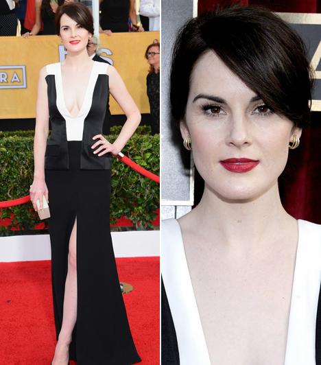 Michelle Dockery                         Downton Abbey sztárja, Michelle Dockery egy merész dekoltázsú J. Mendel ruhát választott.