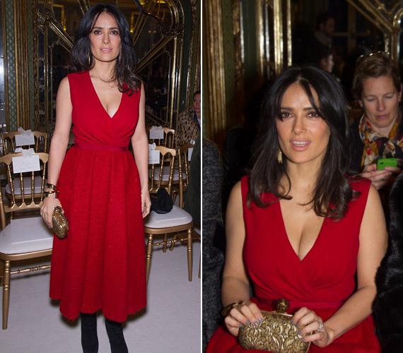 A vörös ruha remekül kihangsúlyozta a 46 éves színésznő vékony alakját és dús kebleit.
