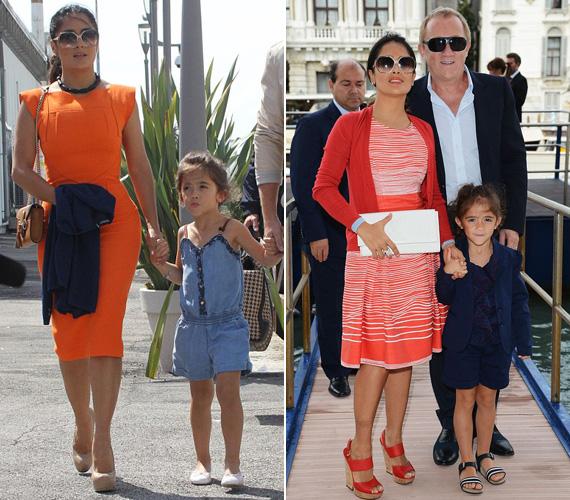 Velencébe kislánya, Valentina és férje, François-Henri Pinault is elkísérte. Mindketten büszkén fotózkodtak a csinos sztármamival.
