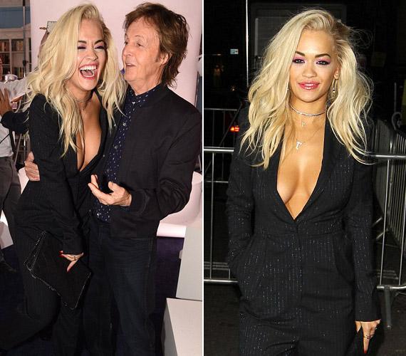 Rita Ora már-már hozta a formáját, a zakó alá még melltartót sem vett.