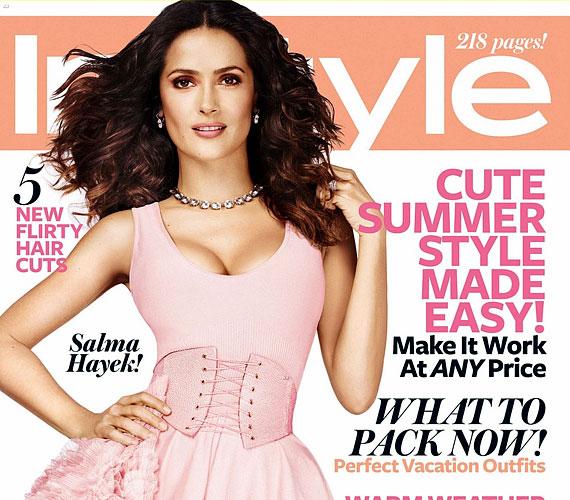Az InStyle magazin júliusi számának címoldalán halványrózsaszín Alexander McQueen ruhában pózol.