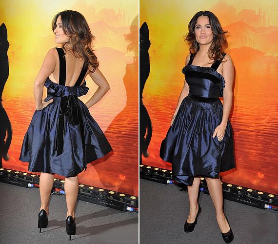 A színésznő csodásan festett az Yves Sain Laurent ruhakölteményben.