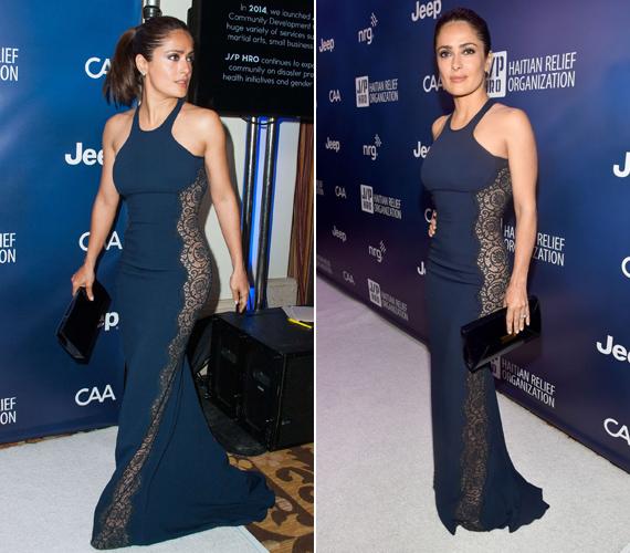 Egy Sean Penn által szervezett jótékonysági gálán ez a feszülős ruha semmit sem takart a színésznő testének vonalából. De nem is kellett, Selma alakja tökéletes.