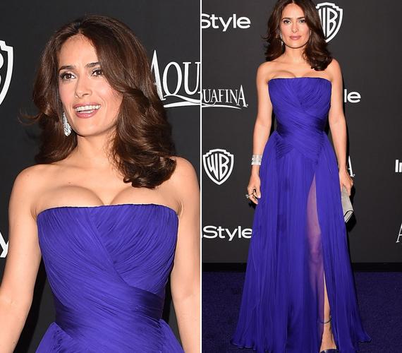 Salma a Golden Globe-gála afterpartiján is tündökölt. Színváltós lilás-kék ruhája az est sztárja volt.