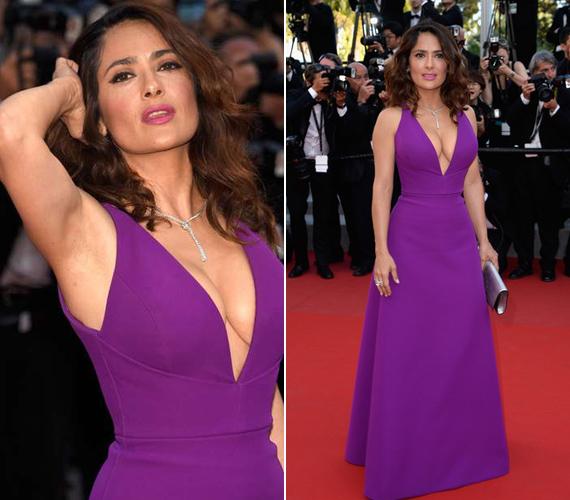 Május 17-én ebben a döbbenetes ruhában kapták le a fotósok a színésznőt a cannes-i filmfesztiválon. Aznap mindenki csak Salma dekoltázsáról beszélt.