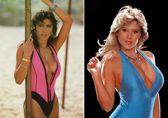 Sabrina és Samantha is keveset takaró fürdőruhában pózol. Az olasz és a angol szépség egyaránt büszke volt bájaira.