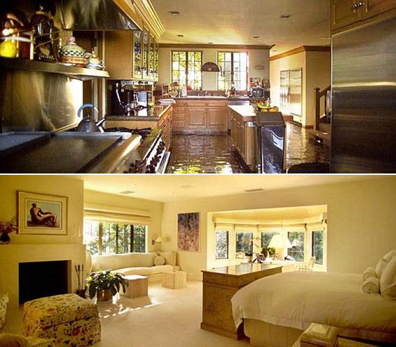 A Beverly Hills-i ház külsőre Tudor-stílusú, de szobái és berendezése már a napfényes, modern Kaliforniát idézik - tágas konyhával és világos nappalival.