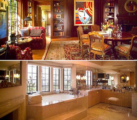 A Los Angeles-i otthon se kevésbé fényűző, mint a New Orleans-i, fürdőszobája bálteremnek is elmenne. Nem hiába fizetett érte Sandra 23 millió dollárt, vagyis több mint négymilliárd forintot.