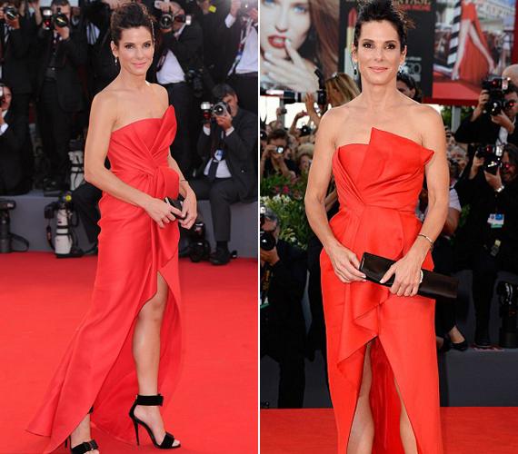 A 49 éves színésznő a kor előrehaladtával nemhogy veszítene vonzerejéből, hanem egyre inkább magára talál. A stylistok íratlan szabályai a vörös szőnyeges megjelenéskor tiltják az ilyen színű ruhákat, ám Sandra Bullock fittyet hányt erre - szerencsére.