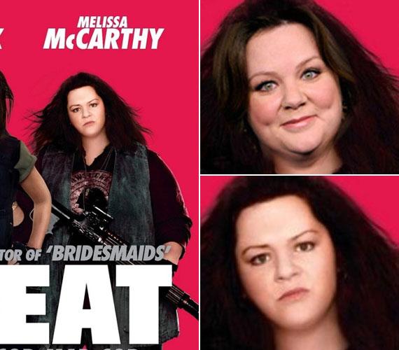 Melissa McCarthy a Női szervek plakátján sem úszta meg a Photoshopot: ott az arcán látszik igazán, hogy nemcsak keskenyítették és eltüntették a tokáját, de még fiatalítottak is rajta.