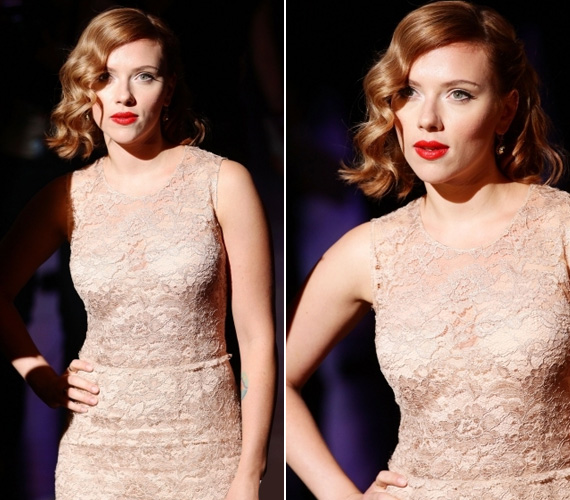 Johansson vérvörös rúzsa és seszínű ruhája elég előnytelen kombinációnak bizonyult, pedig a dögös színésznőt nem nehéz jól felöltöztetni.