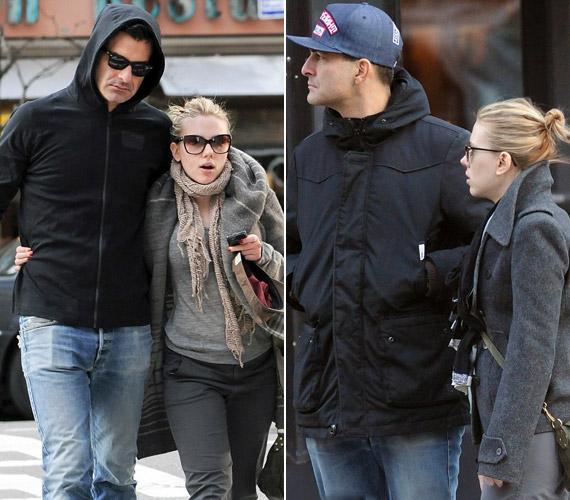 Scarlett Johansson bizonyára biztonságban érzi magát két fejjel magasabb pasija oldalán.