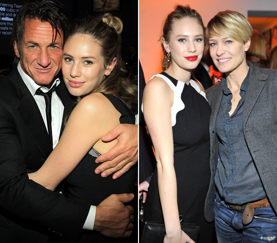 Édesapjával, Sean Penn-nel és édesanyjával, Robin Wrighttal.