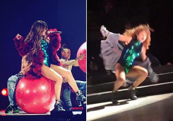 Selena Gomezen látszik, hogy próbálta tompítani az esést - több-kevesebb sikerrel -, azonban így is szerzett a koncerten jelen lévőknek néhány vicces pillanatot.
