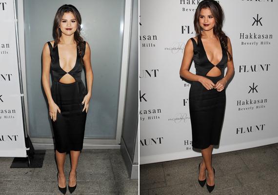 2013-ban a Flaunt magazin által szervezett partin viselte ezt a köldökig kivágott, fekete ruhát.
