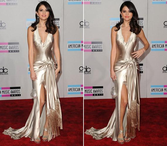 Selena Gomez mesésen festett csillogó ruhájában, mely remekül állt karcsú alakján.