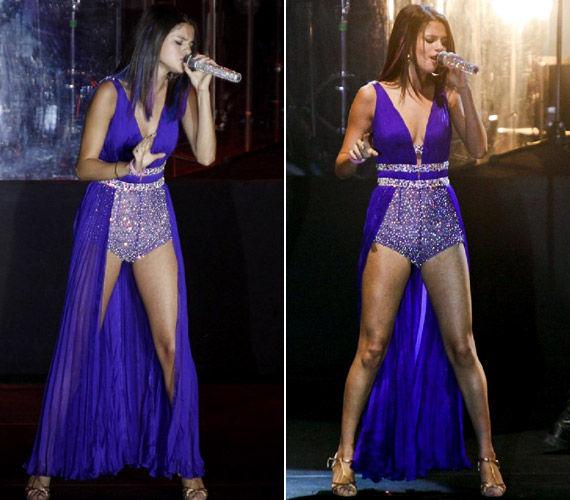 A koncerten sem fogta vissza magát: extrém, lila fellépőruhában tündökölt.