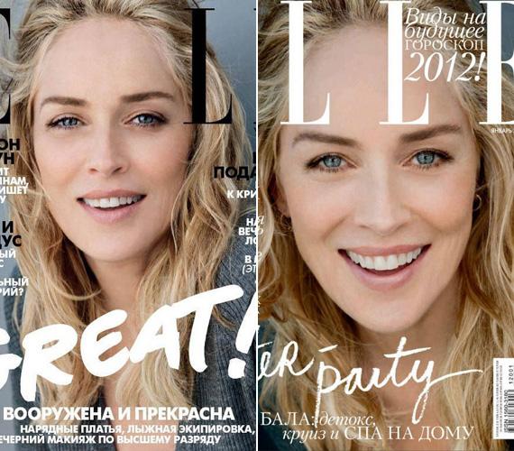Az Elle ukrán kiadásának 2012. januári címlapján szintén évtizedeket retusáltak Stone-on.