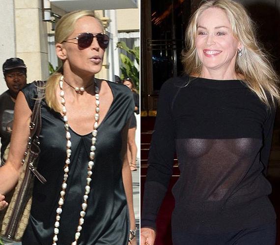 Sharon Stone ebben a selyemruhában indult vásárolni, melltartó nélkül. De szórakozni is inkább fehérnemű nélkül jár.