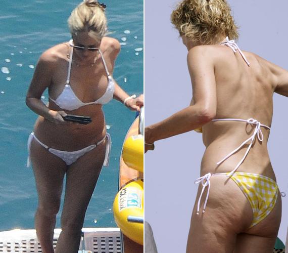 Sharon Stone nem szégyelli a testét, bátran mutatkozik bikiniben, bár a narancsbőr már az ő combján is meglátszik.