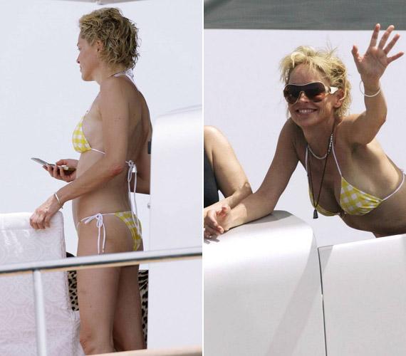 Láthatóan nem zavarja, ha bikiniben fényképezik le: nemrég például egy barátja jachtján pihenve integetett is a lesifotósoknak.