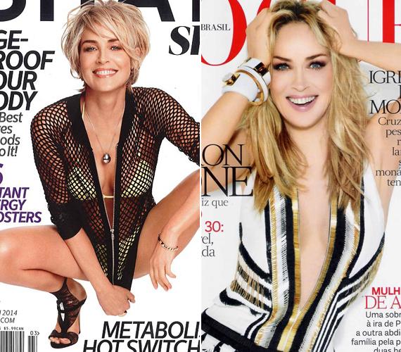 Sharon Stone mindent megtesz, hogy az öregedés nyomai ne látszódjanak a kinézetén. Régebbi - jobb oldali - címlapfotójához képest alig változott valamit.