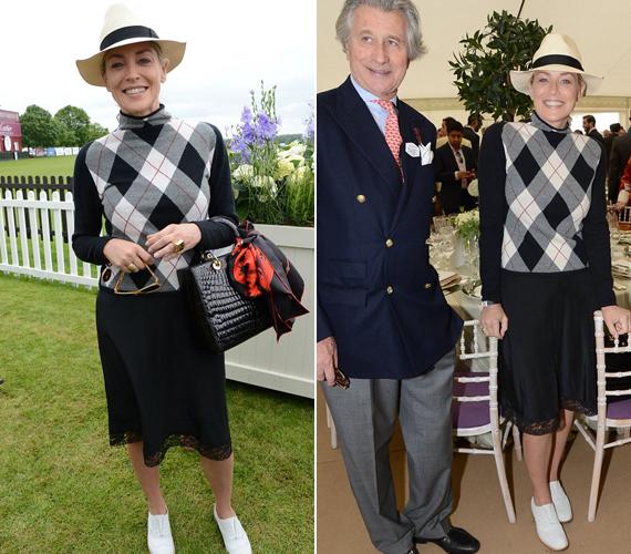 A kockás garbó és a lapos cipő a golfpályán ragyogó megjelenést biztosított volna neki, de egy királyi eseményre, főleg egy lovaspólóra nem éppen szerencsés választás.