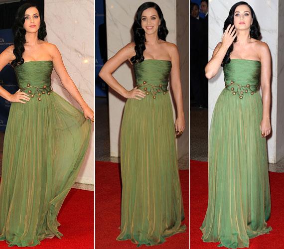 Mint egy nimfa, úgy festett Katy Perry a smaragdzöld Giambattista Valli estélyiben, melyet az aranyöv tett még különlegesebbé.