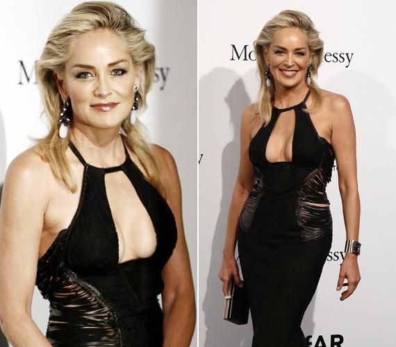 Sharon Stone a 2012-es Mailandi Divathéten ebben a fekete kreációban mutatta meg, hogy még mindig tudja mitől döglik a légy.