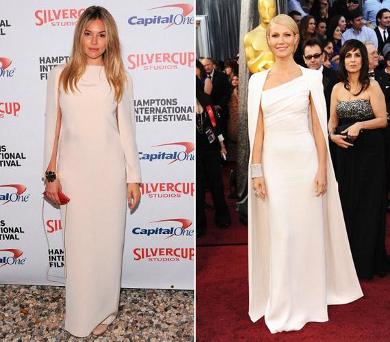 Sienna Miller minden bizonnyal emlékezett rá, hogy Gwyneth Paltrow is hasonló ruhakölteményben jelent meg az Oscar-díjátadón, ám őt ez nem zavarta.