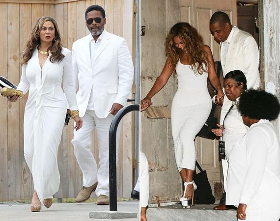 A kétszáz vendég között volt Tina Knowles, Solange és Beyoncé édesanyja, valamint Beyoncé is a férjével, szintén hófehérben.