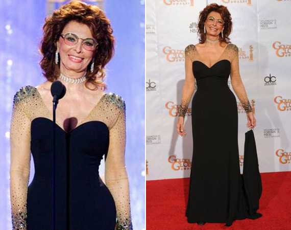 A 2010-es Golden Globe-díjátadóra egy szintén fekete színű, csillogó ujjú estélyit választott.