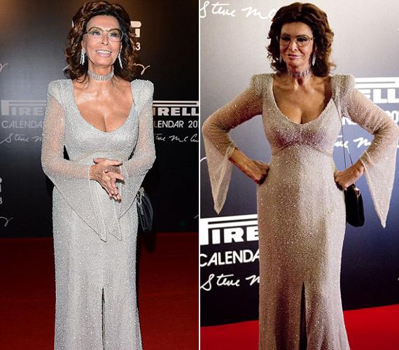 Úgy tűnik, megirigyelte Jennifer Lopez csillogú ruhakölteményeit, így ő is egy hasonló kreációban jelent meg.