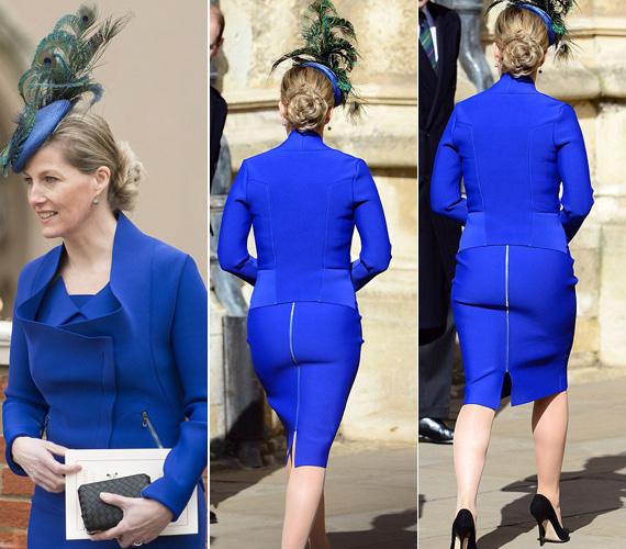 A testhezálló kosztümben majdnem akkora feltűnést keltett, mint Katalin és Vilmos esküvőjén Pippa Middleton koszorúslányruhájával és benne a hátsójával.
