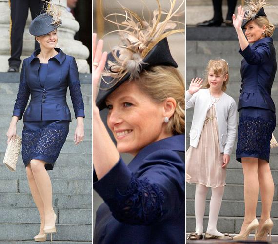 Sophie ruhái mindig egyedien stílusosak: a királynő gyémántjubileumára ezt az indigókék vintage ruhát húzta fel.