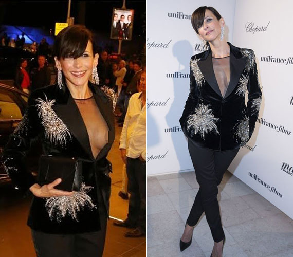 A 48 éves színésznő vasárnap este jelent meg Cannes-ban a Chopard partiján és nem vette észre, amikor a zakója félrecsúszott, megvillantva melllbimbóját. A rossznyelvek szerint a melle most sokkal kerekebbnek és feszesebbnek tűnik, mint 10 évvel ezelőtt, az emlékezetes mellvillantása alkalmával, az sem kizárt, hogy időközben plasztikáztatott. A következő képkockán láthatod a 2005-ös villantást.