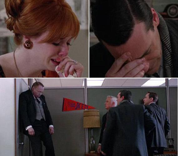 Lane Pryce halála mélységesen megrázza a titkárnő Joan Harrist és főnökét, Don Drapert is.