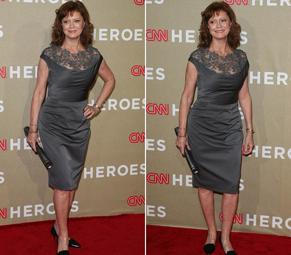 Susan Sarandon ezúttal egy szürke, kissé egyszerű ruhában jelent meg.